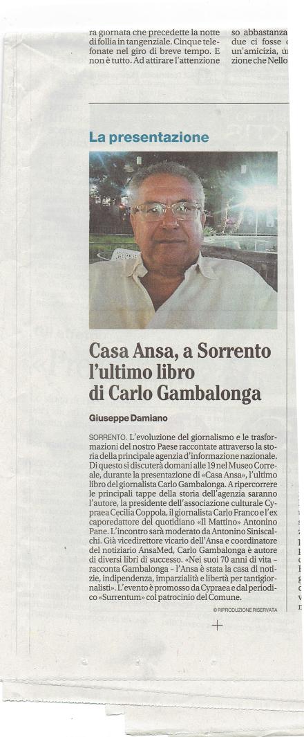 Casa Ansa, a Sorrento l'ultimo libro di Carlo Gambalonga