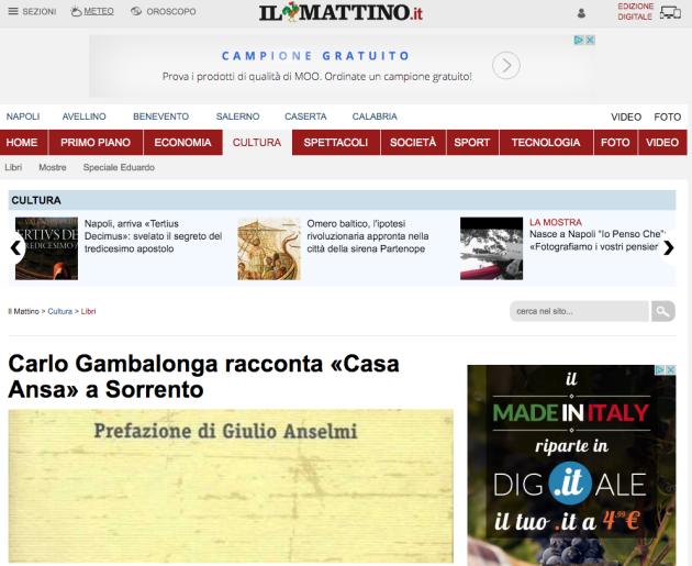 Carlo Gambalonga racconta «Casa Ansa» a Sorrento