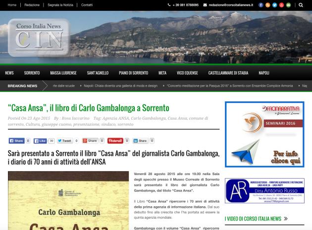 """""""Casa Ansa"""", il libro di Carlo Gambalonga a Sorrento"""