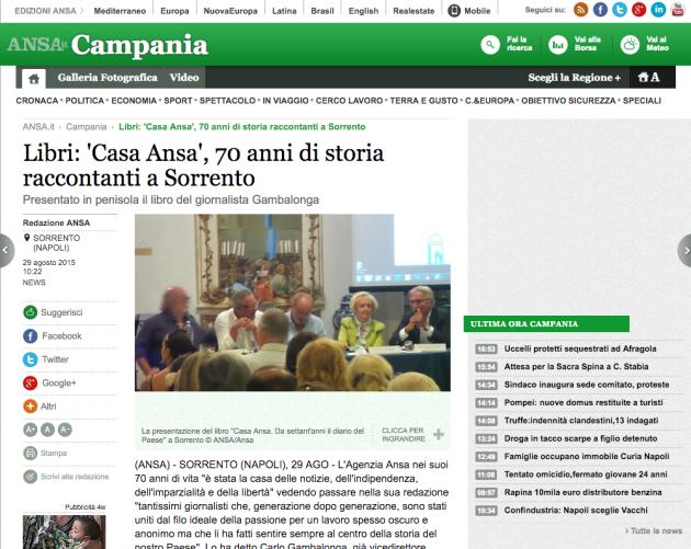 Libri: 'Casa Ansa', 70 anni di storia raccontanti a Sorrento