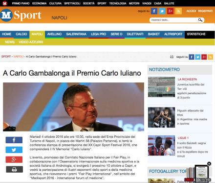 A Carlo Gambalonga il Premio Carlo Iuliano